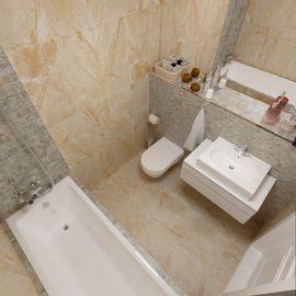 Керамогранит Дженезис бежевый лаппатированный 60х60 см завода Керранова в интерьере ванной комнаты