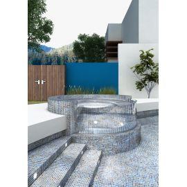 Shell 556 Deep серая перламутровая мозаика Vidrepur на сетке для облицовки бассейна