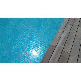Shell 552 Azure синяя перламутровая мозаика Vidrepur в чаше бассейна