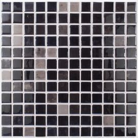 Lux 407 серо-черная Anthracite высокоглянцевая мозаика Vidrepur на сетке