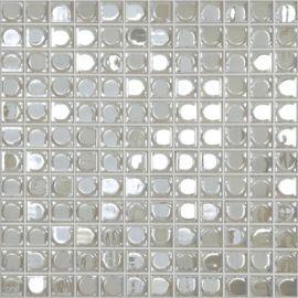 Aura White белая мозаика 3D Vidrepur на сетке