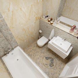 Керамогранит Дженезис бежевый лаппатированный 60х60 см завода Керранова в интерьере ванной