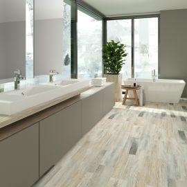 Керамогранит Cimic Wood светло-серый 20х60 см в интерьере