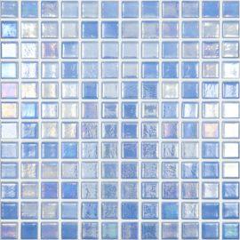 Shell 552 Azure синяя перламутровая мозаика Vidrepur на сетке