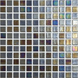 Shell 556 Deep серая перламутровая мозаика Vidrepur на сетке