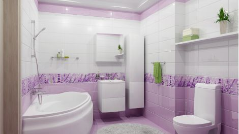 Розовая плитка Концепт 5П 40х40 в интерьере