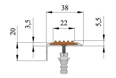 Технические размеры антискользящей алюминиевой накладки Next АНУ38