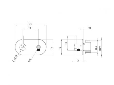 Alia Teska гигиенический душ BTK65000 схематический размер