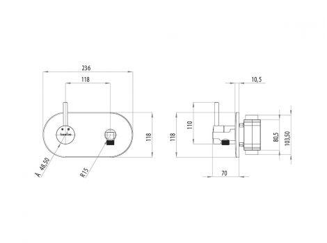 Alia Teska гигиенический душ BTK66000 схематический размер