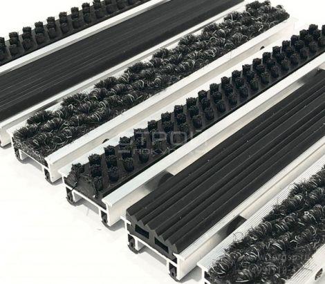Алюминиевая грязезащитная решетка c комбинацией РЕЗИНА-ЩЕТКА-ВОРС