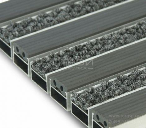 Грязезащитное покрытие на алюминиевом профиле. Вставки - серые ворс, резина