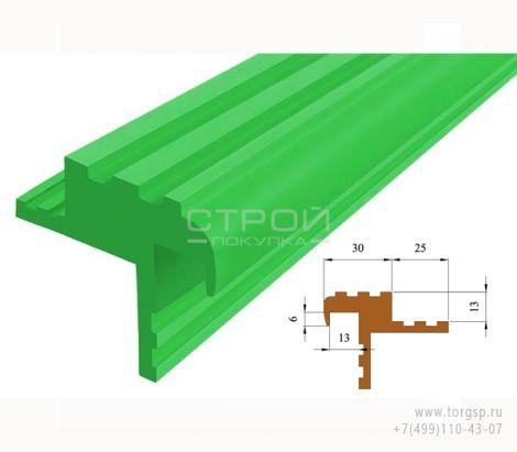 Зеленый противоскользящий закладной профиль Безопасный ШАГ (NEXT БШ-40) - СтройПокупка