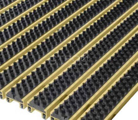 Щетинистое грязезащитное покрытие на алюминиевом профиле - Чистящее покрытие Status-Gold с щеткой