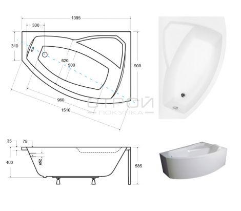 Размеры акриловой ванны Besco Rima 140х90 см.