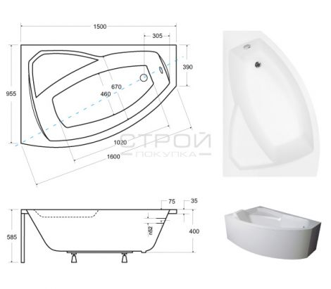 Размеры акриловой ванны Besco Rima 150.