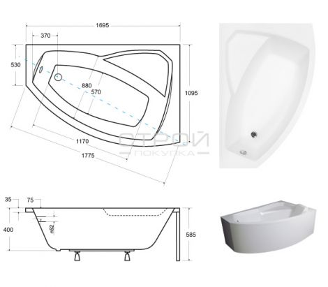Размеры акриловой ванны Besco Rima 170.