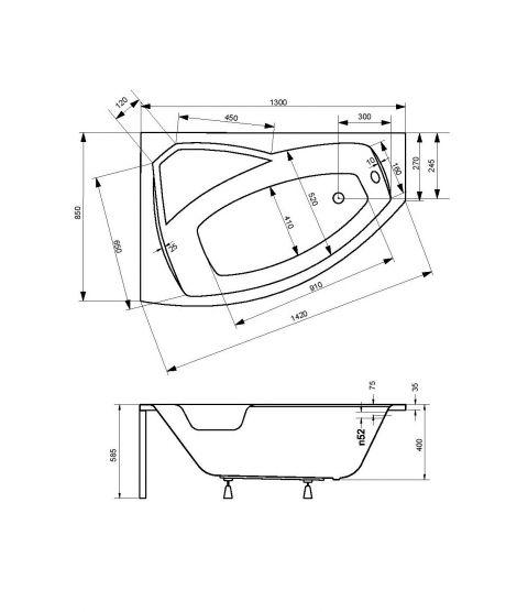 Размеры акриловой ванны Besco Rima 130.