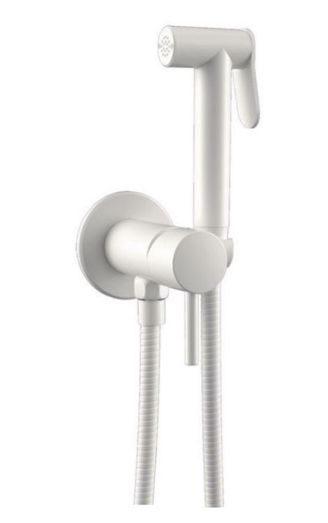 Белый матовый гигиенический душ Pulito Teska с подачей горячей и холодной воды