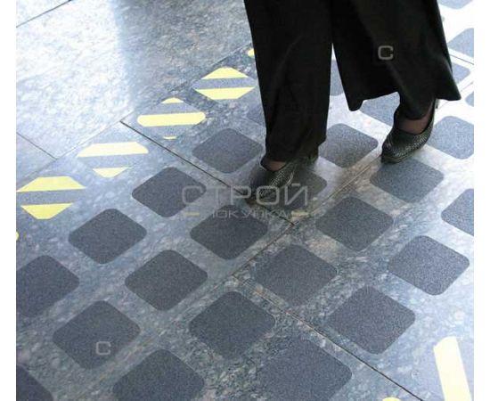Черно-желтый абразивный квадрат противоскользящий 10х10 см