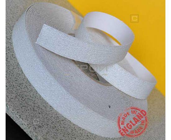 Белая противоскользящая лента в рулоне, шириной 25 мм