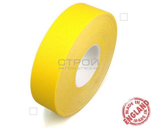 Рулон желтой ленты виниловой самоклеющейся Resilient, предназначенной против скольжения.  Ширина: 5 см, Длина: 18,3 метра