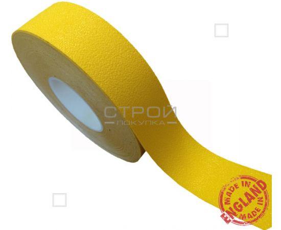 Рулон противоскользящей желтой ленты с  виниловой самоклеющейся основой. Ширина: 5 см, Длина: 18,3 метра