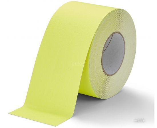 Флуоресцентная-желтая   самоклеющаяся лента противоскользящая шириной 10 см