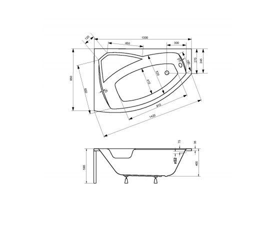 Размера ванны Rima Besco 130