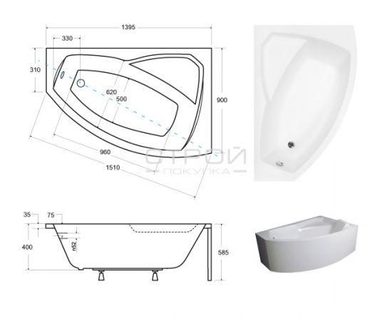 Размера ванны  Rima Besco 140х90 см