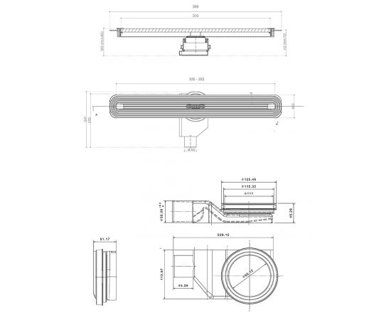 Схематические размеры трапа Confluo Premium Slim Line