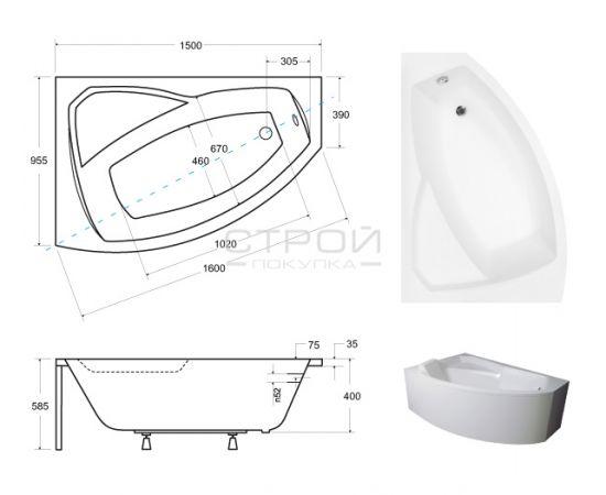 Размера ванны  Rima Besco 150