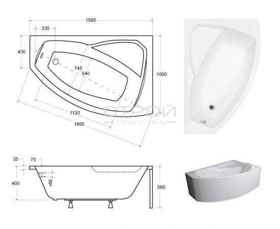 Размера ванны Rima Besco 160