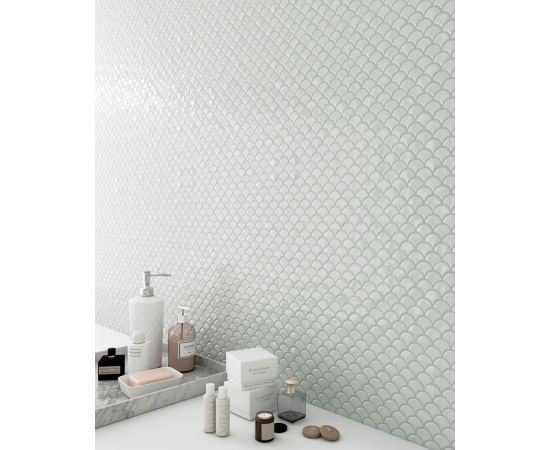 BR White 6000 мозаика как рыбья чешуя в интерьере