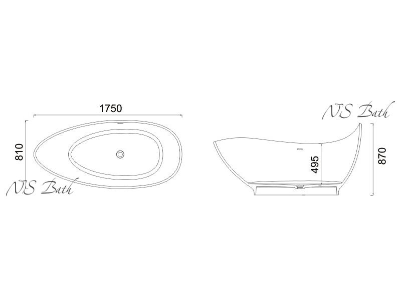 Схематические размеры ванны NSB-17810