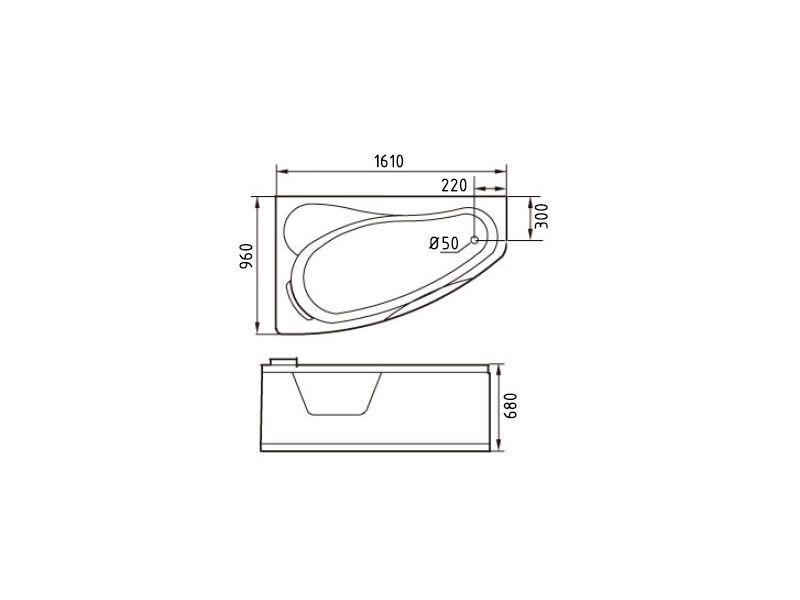 Размеры ванны Gemy G9046 K L